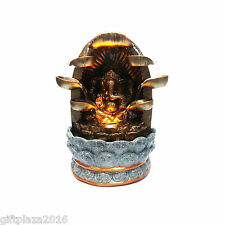 "11"" INCH ANTIQUE OF LORD SHRI GANESH RELIGIOUS WATERFALL FOUNTAIN WITH LED LIGHT"