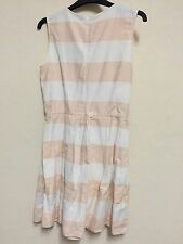 Gap UK Size 8 US 4 EU 36 White Peach Nude Stripe Striped Cotton Skater Dress 33""