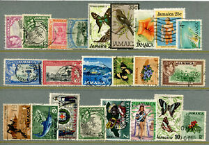 BU34 British Colonies Jamaica 23v used Fauna Birds Butterflies Fishes