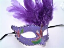 MASQUERADE HALLOWEEN HEN PARTY PURPLE FEATHER GLITTER JEWELED EYE MASK NEW