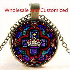 Saint Jesus Crown Stained Cabochon bronze Glass Chain Pendant Necklace TS-4790