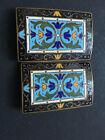 Boucle de ceinture en métal et émail Art Nouveau Modern style vers 1890 enamel