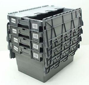 VGC Used 4 x Heavy Duty Plastic Storage Box Boxes With Folding Lids Free P&P