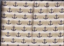Nautical Anchors Tan Stripe curtain valance