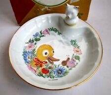 Assiette Bébé Porcelaine Limoges Labesse France Canard et Escargot Bouchon Ours