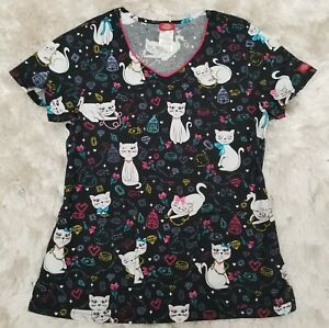 Dickies Womens Size Medium Cute Cat Happy Halloween Scrubb Shirt Top.