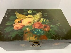 Hand Painted WOOD STORAGE BOX Large Floral Motif Brass Clasp & Handles 18x12x8""