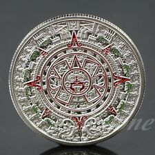 Silver Plated Mayan Prophecy Aztec Gold Calendar Commemorative Coin Collection