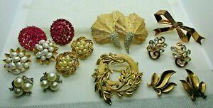 VTG All Signed Crown Trifari Wear/Repair Jewelry Lot Rhinestone Faux Pearl