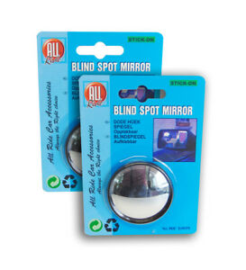 2 x STICK-ON ROUND BLIND SPOT WIDE ANGLED MIRROR WING VAN CAR SAFETY ACCESSORIES