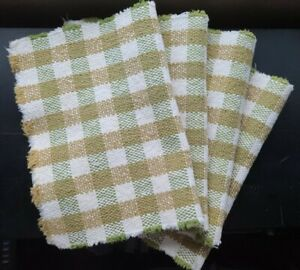 Set of 4 Woven Table Dinner Placemats Gold Green White Checkered Pattern
