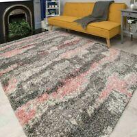 Grey Pink Cloud Rug for Living Room | Fluffy Shaggy Rugs | Hallway Runner Rug UK