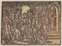 JESUS MITTELALTER Original Postinkunabel Holzstich 1550 Christen Religion Kunst