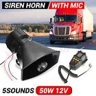 Car Warning Alarm Police Fire Siren Horn PA Speaker MIC System 100W 5 Sound Loud