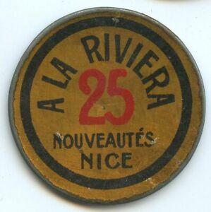 Timbre Monnaie Nice A la Riviera 25 Centimes Bleu