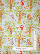 Mama Baby Animals Bunny Bear Trees Cotton Fabric HG&Co Hug & Loves By The Yard