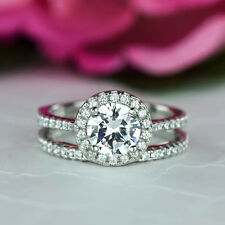 Certified 2.25CT Round-Cut Lab-Created Diamond Engagement Bridal Ring in14K Gold