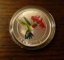 2007 Canada 25 cent Coloured Coin - Ruby-throated Hummingbird