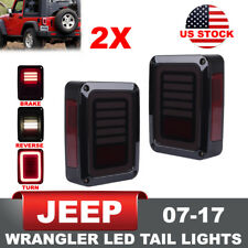2x Jeep Wrangler JK 07-17 LED Tail Lights Rear Reverse Brake Turn Signal Smoke