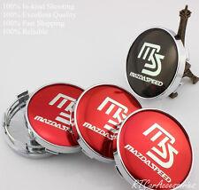 MS MAZDASPEED Wheel Center Hub Caps Red Black For MAZDA 2 3 6 RX8 MIATA MX5 60MM