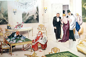 David Low RAKE GAMBLING LOSING Poker Game Play Cards 1934 Art Deco Print Matted