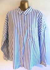 Zara Basic XS Oversized stripe collared cotton quirky shirt blouse (B920