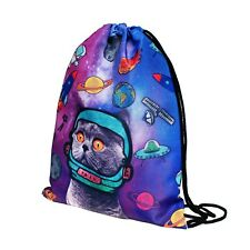 1pc Cat Astronaut Non-woven Drawstring Bags Backpack Gym Tote Bag Sport Bag