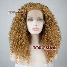"""24"""" foncé blonde Kinky Lang Welling Cheveux Cosplay Perruque lace front wig"""
