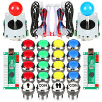 2Player Arcade Buttons DIY Kit Mame Raspberry Pi Game joystick Chrome LED Button