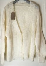 "Ladies Mixed Fibres Hand Knitted Mohair V Neck White Cardigan 46"" Chest"