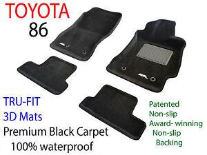 To suit Toyota 86 2012 - 2019 Black Carpet Car Floor Mats - Manual Transmisson