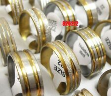 50pcs Gold MIX Men's Fashion Stainless Steel Band Rings Wholesale Jewelry Lots