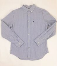 Medium Button Down American Eagle Men's Shirt Striped Blue and White