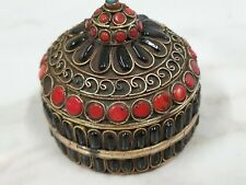 More details for antique tibetan round brass wire work box with onyx coral and turquoise