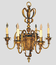 Antique French Regency D'ore Gold Bronze Six Arm Chandelier c. 1910's