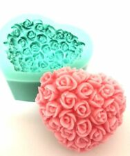 NEW ROSE covered HEART SILICONE SOAP ART MOLD/mould, Hand crafted, Beautiful