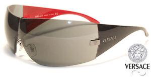 NEW Genuine VERSACE Shield Men Women Sunglasses VE2054 White Black 10008G 100187