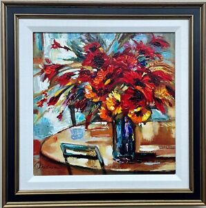 """Michael Milkin """"Red Bouquet on the Table""""   Hand Signed Framed Art New"""