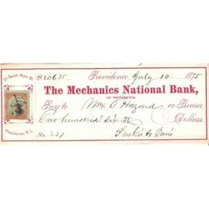 ANTIQUE 1875 MECHANICS NATL BANK PROVIDENCE RI $206.35 CHECK ! -d2885unx