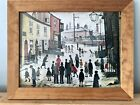 """LS Lowry Vintage Framed Print. """"A Procession, 1938"""" Printed England 1988 PMP 176"""