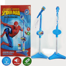 Spiderman Microphone Pretend Play Sing Voice LED Light Kid Musical Play Toy Gift