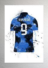 Ronaldo CR9 - Inter Milan Football Shirt Art - Splash Effect - A4 Size