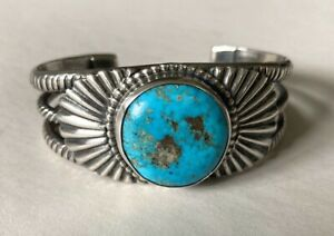 Choice Vintage Southwestern Sterling Silver & Turquoise Cuff Bracelet-59.6 Grams