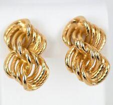 Gay Boyer Earrings Gold Tone Clip On Chain Links 1.25 in x .75 inch