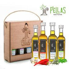 Pellas Nature | Fresh Organic Infused Olive Oil | Wooden Gift Set | 4 Flavors
