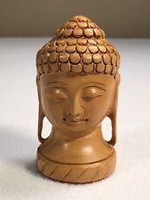 """Buddha Sculpture Miniature 3.25"""" Tall Desktop Calming Hand Carved Relaxing Face"""