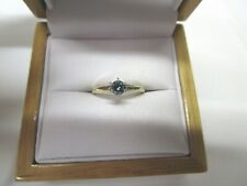 GORGEOUS ESTATE 14 KT GOLD VIVID GREEN BLUE DIAMOND RING !!!!!!