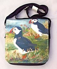PUFFIN SEA BIRD SHOULDER BAG SATIN EFFECT OIL PAINTING PRINT SANDRA COEN ARTIST