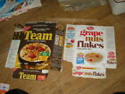 cereal box Nabisco TEAM 1971,Post GRAPE NUTS 1970s (2 items)