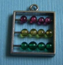 Vintage abacus with movable colored beads sterling charm